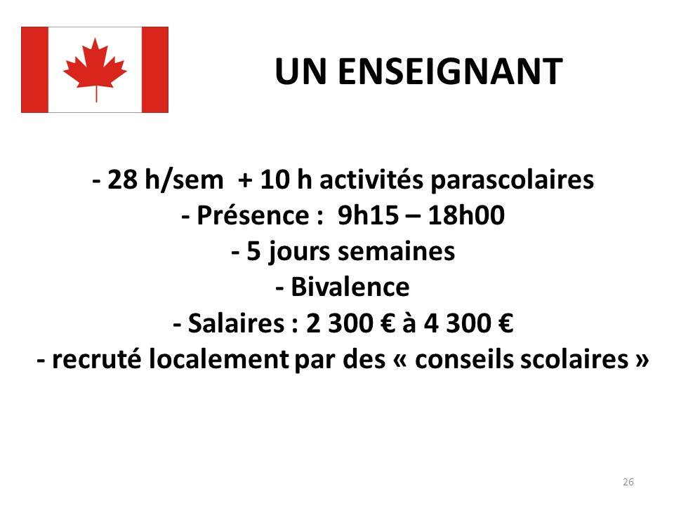 - 28 h/sem + 10 h activités parascolaires - Présence : 9h15 – 18h00 - 5 jours semaines - Bivalence - Salaires : 2 300 à 4 300 - recruté localement par des « conseils scolaires » UN ENSEIGNANT 26