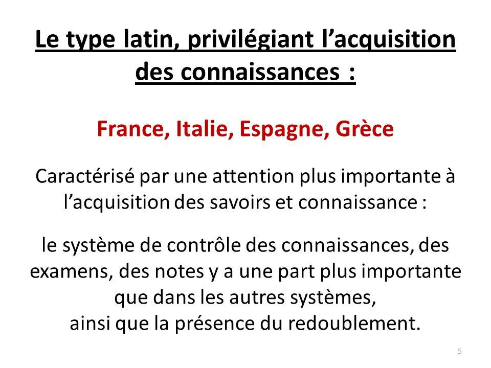 Le type latin, privilégiant lacquisition des connaissances : France, Italie, Espagne, Grèce Caractérisé par une attention plus importante à lacquisiti