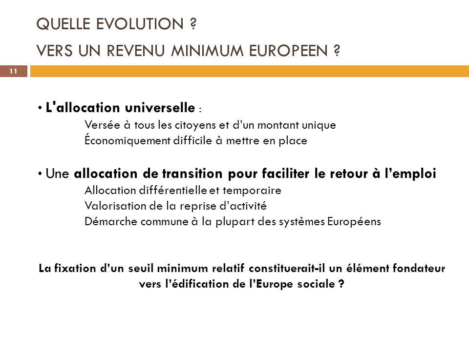 QUELLE EVOLUTION ? VERS UN REVENU MINIMUM EUROPEEN ? L'allocation universelle : Versée à tous les citoyens et dun montant unique Économiquement diffic