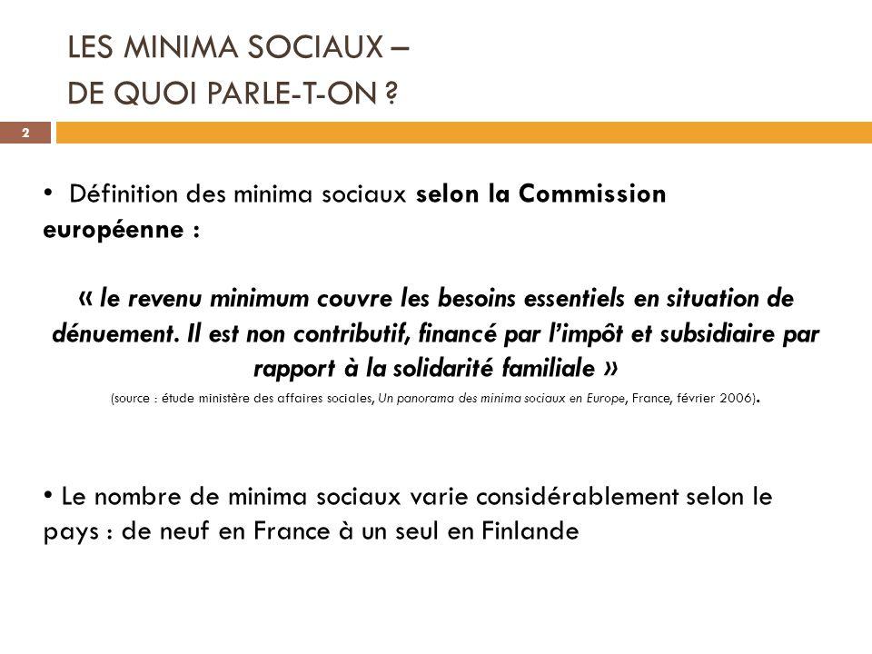 LES MINIMA SOCIAUX – DE QUOI PARLE-T-ON ? Définition des minima sociaux selon la Commission européenne : « le revenu minimum couvre les besoins essent