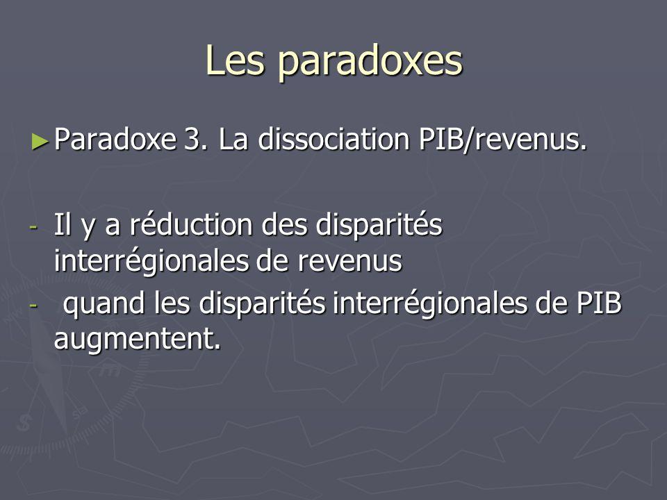Les paradoxes Paradoxe 3. La dissociation PIB/revenus. Paradoxe 3. La dissociation PIB/revenus. - Il y a réduction des disparités interrégionales de r