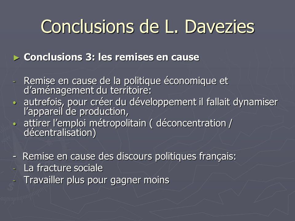 Conclusions de L. Davezies Conclusions 3: les remises en cause Conclusions 3: les remises en cause - Remise en cause de la politique économique et dam