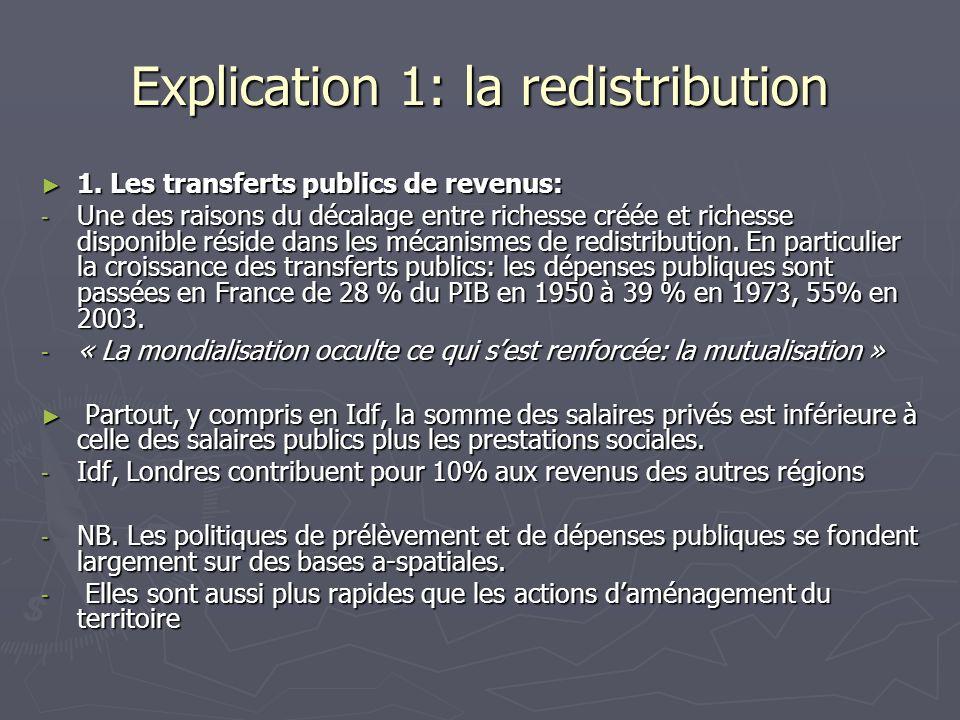 Explication 1: la redistribution 1. Les transferts publics de revenus: 1. Les transferts publics de revenus: - Une des raisons du décalage entre riche