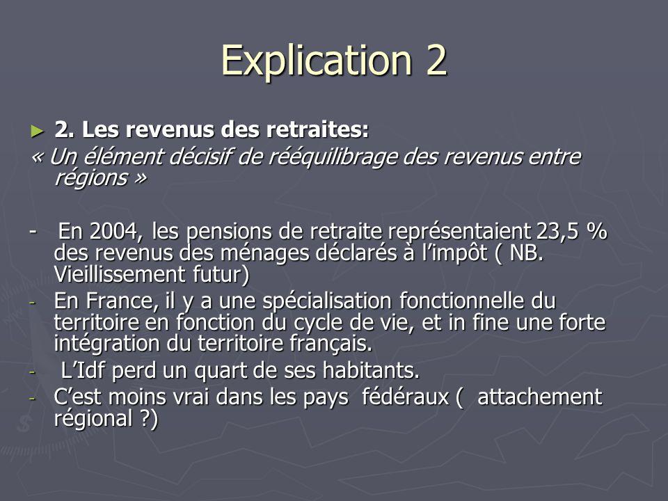 Explication 2 2. Les revenus des retraites: 2. Les revenus des retraites: « Un élément décisif de rééquilibrage des revenus entre régions » - En 2004,