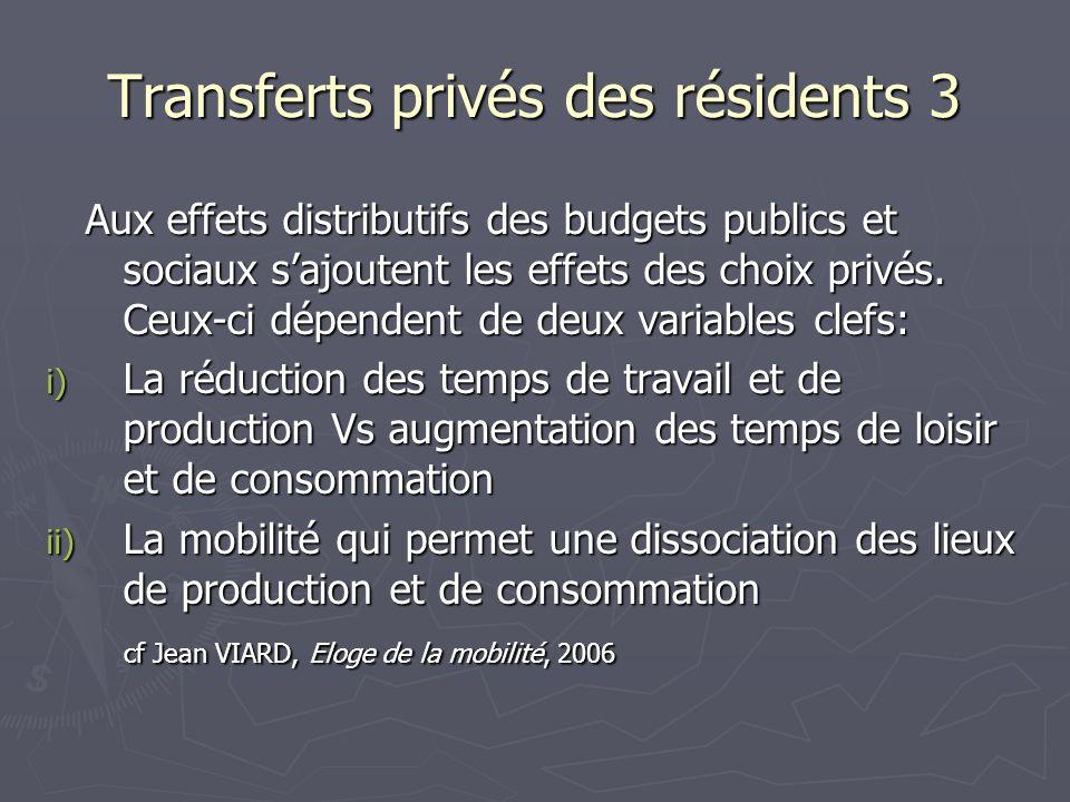 Transferts privés des résidents 3 Aux effets distributifs des budgets publics et sociaux sajoutent les effets des choix privés. Ceux-ci dépendent de d