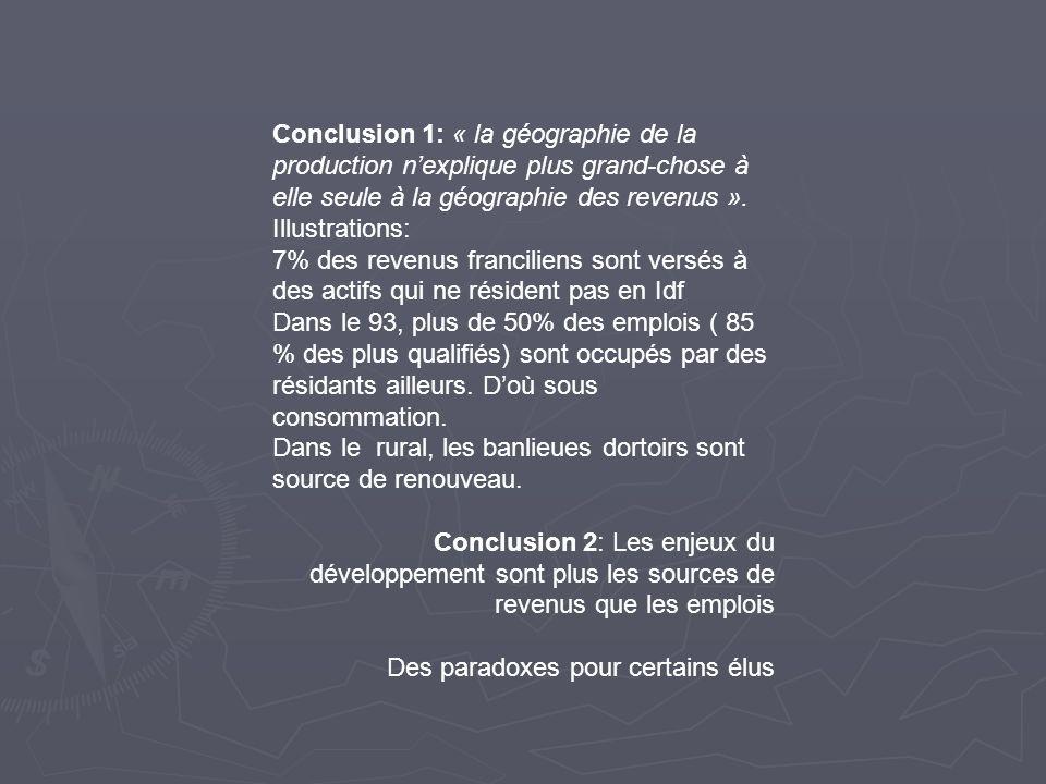 Conclusion 1: « la géographie de la production nexplique plus grand-chose à elle seule à la géographie des revenus ». Illustrations: 7% des revenus fr