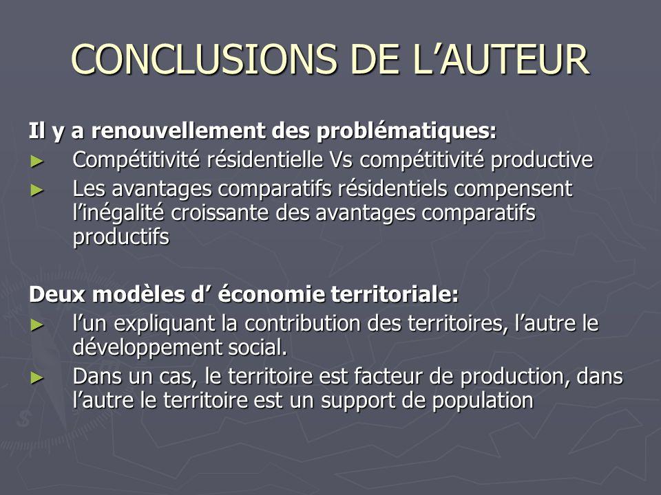 CONCLUSIONS DE LAUTEUR Il y a renouvellement des problématiques: Compétitivité résidentielle Vs compétitivité productive Compétitivité résidentielle V