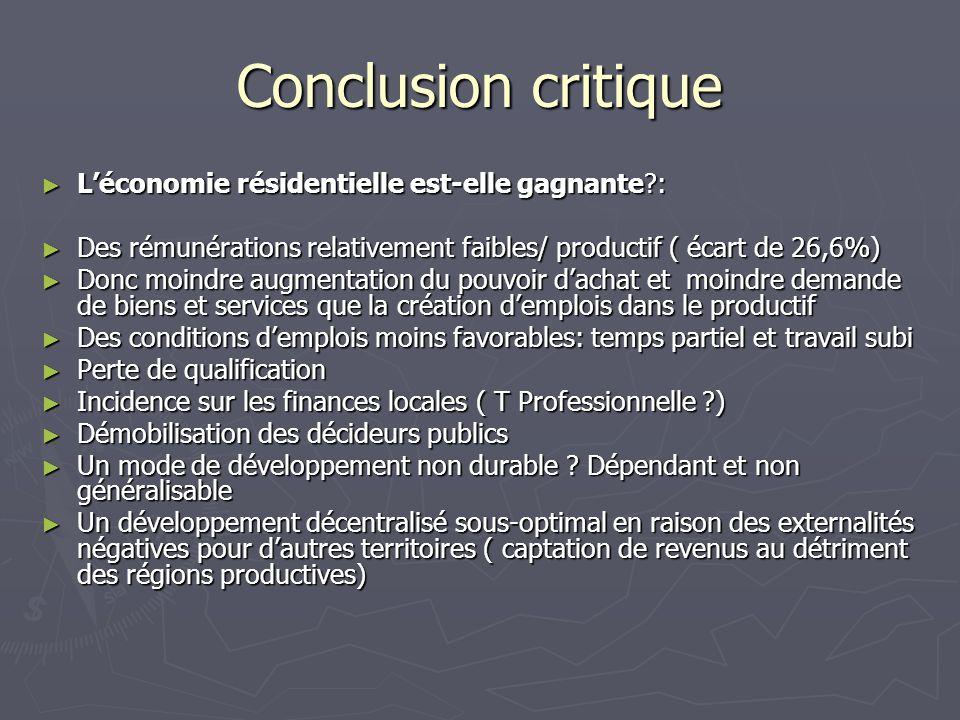 Conclusion critique Léconomie résidentielle est-elle gagnante?: Léconomie résidentielle est-elle gagnante?: Des rémunérations relativement faibles/ pr
