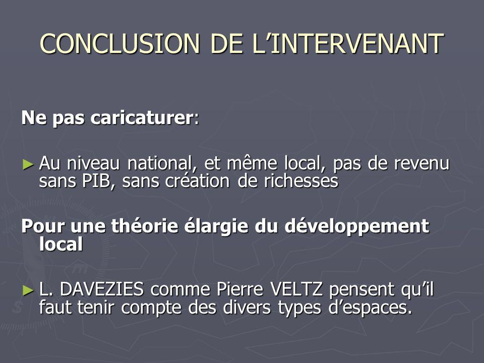 CONCLUSION DE LINTERVENANT Ne pas caricaturer: Au niveau national, et même local, pas de revenu sans PIB, sans création de richesses Au niveau nationa