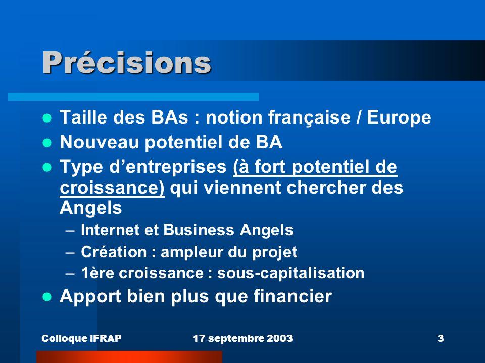 Colloque iFRAP17 septembre 20034 Situation européenne Marché fragmenté avec peu de visibilité Commission européenne : 125.000 BAs, potentiel d1.000.000 DG Enterprise + EBAN Réseaux de Business Angels Il y a 5 ans : Royaume Uni Actuellement : 180 Réseaux identifiés