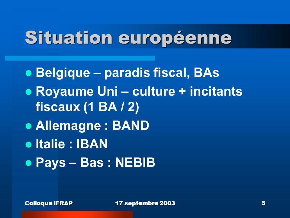 Colloque iFRAP17 septembre 20035 Situation européenne Belgique – paradis fiscal, BAs Royaume Uni – culture + incitants fiscaux (1 BA / 2) Allemagne : BAND Italie : IBAN Pays – Bas : NEBIB