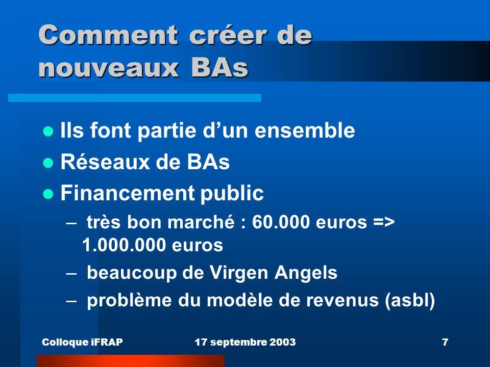 Colloque iFRAP17 septembre 20037 Comment créer de nouveaux BAs Ils font partie dun ensemble Réseaux de BAs Financement public – très bon marché : 60.000 euros => 1.000.000 euros – beaucoup de Virgen Angels – problème du modèle de revenus (asbl)