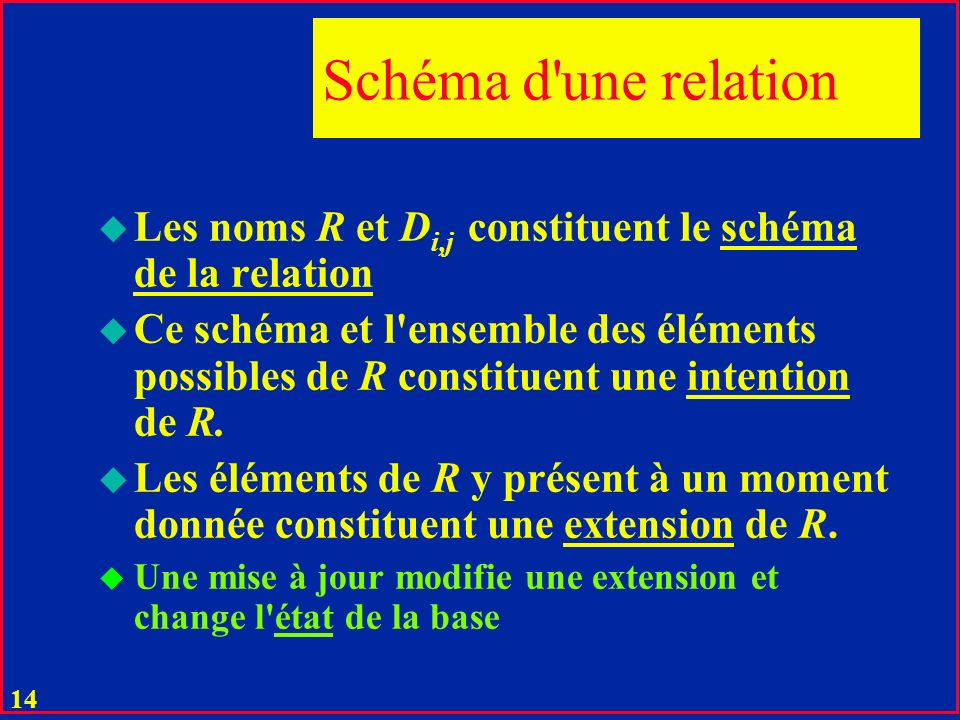 13 Relations u D i ; i = 1,2..n des ensembles dits domaines u Une relation R est un sous-ensemble de produit cartésien: D i R D i,1 x D i,2...