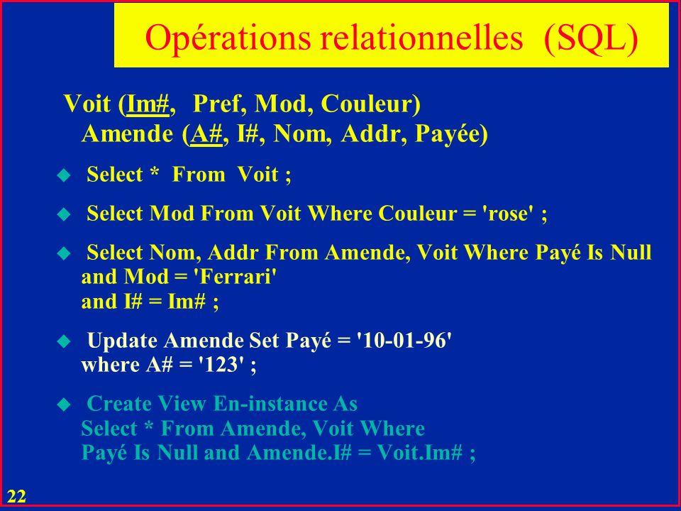 21 Opérations relationnelles u Sélection : u Projection u Restriction u Jointure u Division u Agrégation u Opération suppl.
