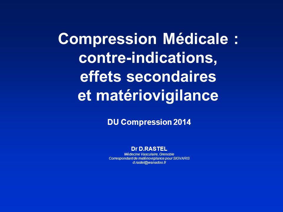Les contre-indications générales de la compression médicale sont : - lartériopathie oblitérante des membres inférieurs (AOMI) avec un index de pression systolique (IPS) < 0.6 ; - la microangiopathie diabétique évoluée (pour une pression > 30 mmHg) ; - la Phlegmatia coerulea dolens - la thrombose septique.