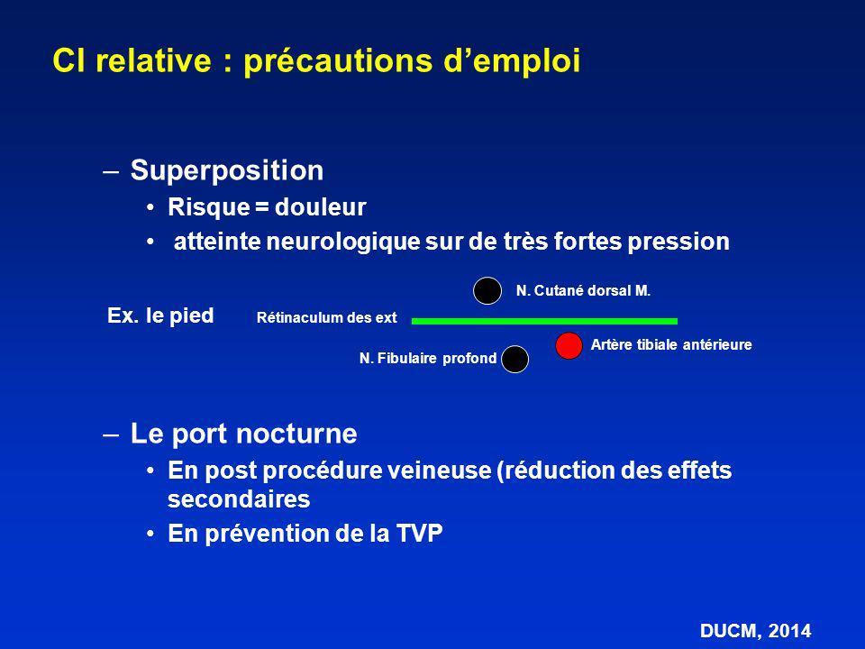 –Superposition Risque = douleur atteinte neurologique sur de très fortes pression –Le port nocturne En post procédure veineuse (réduction des effets s