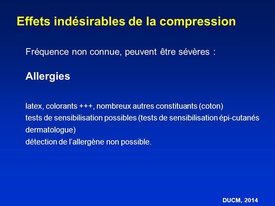 Fréquence non connue, peuvent être sévères : Allergies latex, colorants +++, nombreux autres constituants (coton) tests de sensibilisation possibles (