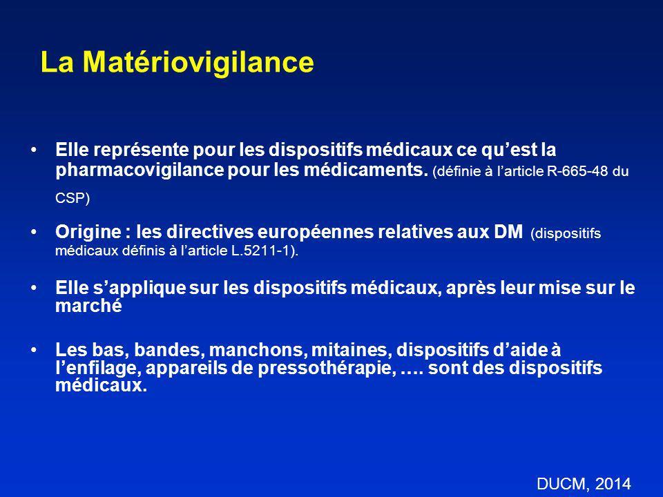 La Matériovigilance Elle représente pour les dispositifs médicaux ce quest la pharmacovigilance pour les médicaments. (définie à larticle R-665-48 du