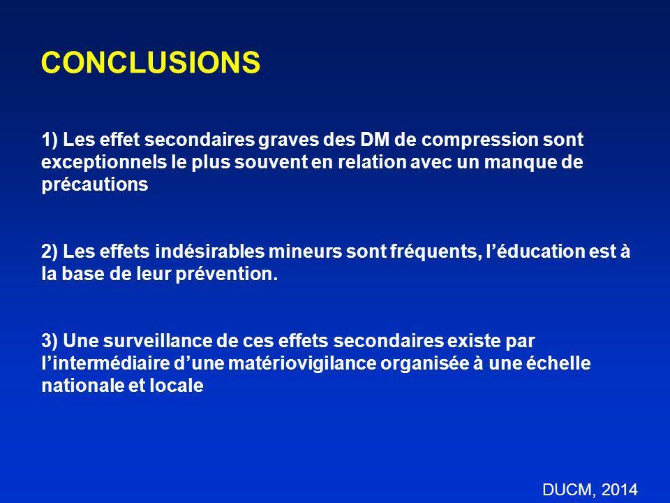 CONCLUSIONS 1) Les effet secondaires graves des DM de compression sont exceptionnels le plus souvent en relation avec un manque de précautions 2) Les