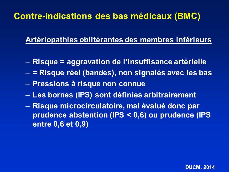 Artériopathies oblitérantes des membres inférieurs –Risque = aggravation de linsuffisance artérielle –= Risque réel (bandes), non signalés avec les ba