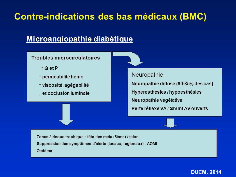Microangiopathie diabétique Contre-indications des bas médicaux (BMC) DUCM, 2014 Neuropathie Neuropathie diffuse (80-85% des cas) Hyperesthésies / hyp