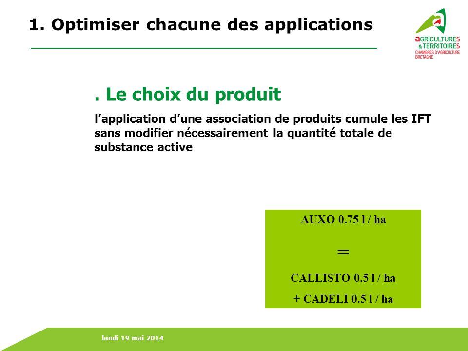 lundi 19 mai 2014 1. Optimiser chacune des applications. Le choix du produit lapplication dune association de produits cumule les IFT sans modifier né