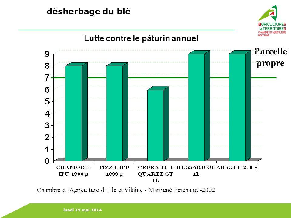 lundi 19 mai 2014 Lutte contre le pâturin annuel Parcelle propre Chambre d Agriculture d Ille et Vilaine - Martigné Ferchaud -2002 désherbage du blé