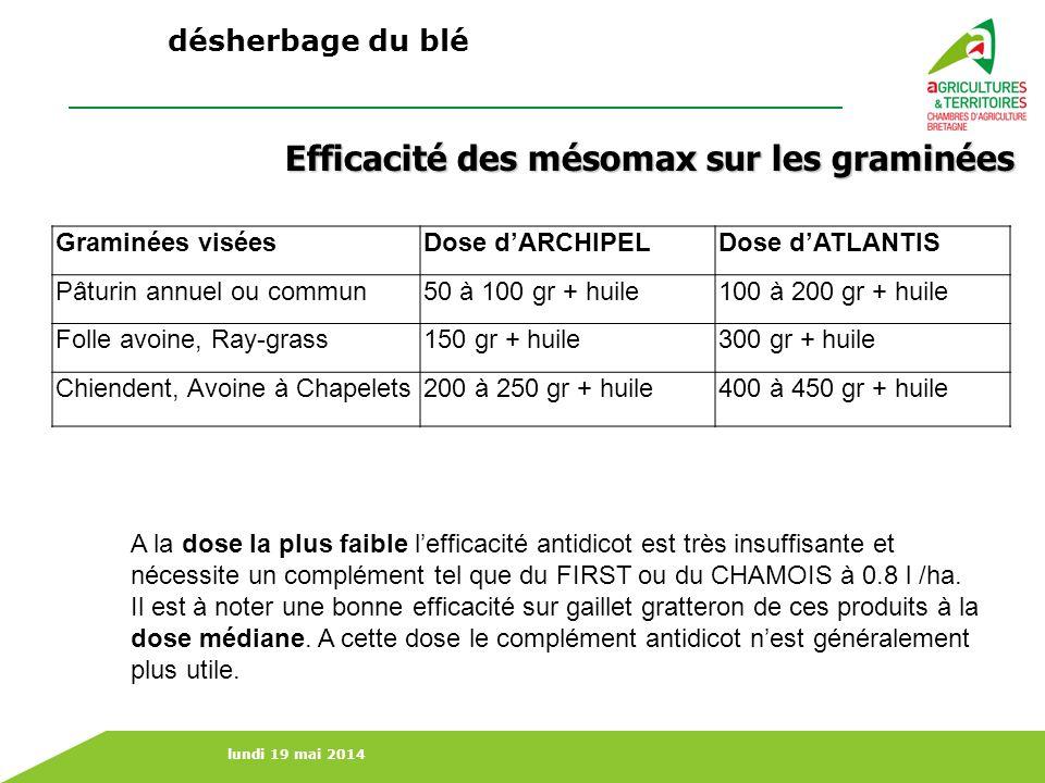 lundi 19 mai 2014 Graminées viséesDose dARCHIPELDose dATLANTIS Pâturin annuel ou commun50 à 100 gr + huile100 à 200 gr + huile Folle avoine, Ray-grass