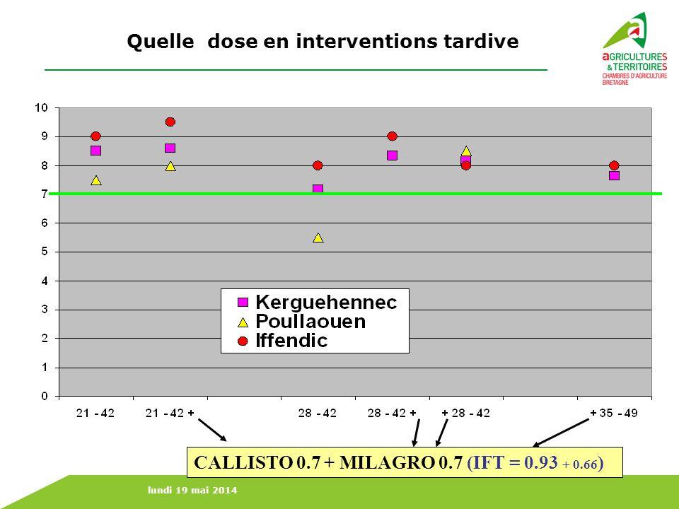 lundi 19 mai 2014 Quelle dose en interventions tardive CALLISTO 0.7 + MILAGRO 0.7 (IFT = 0.93 + 0.66 )