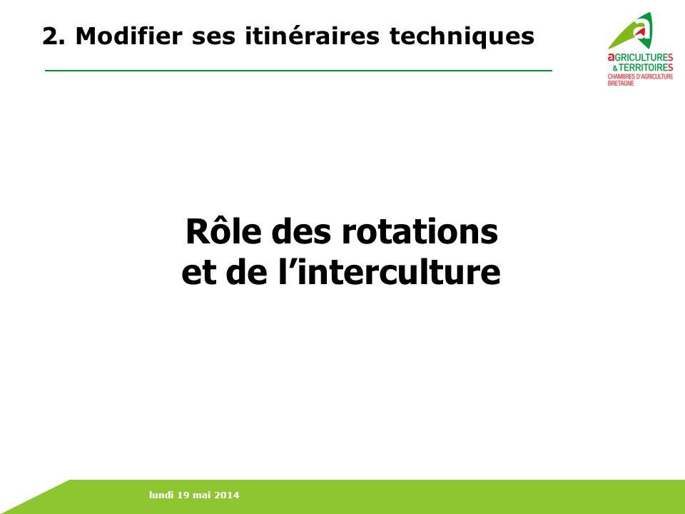 lundi 19 mai 2014 Rôle des rotations et de linterculture 2. Modifier ses itinéraires techniques