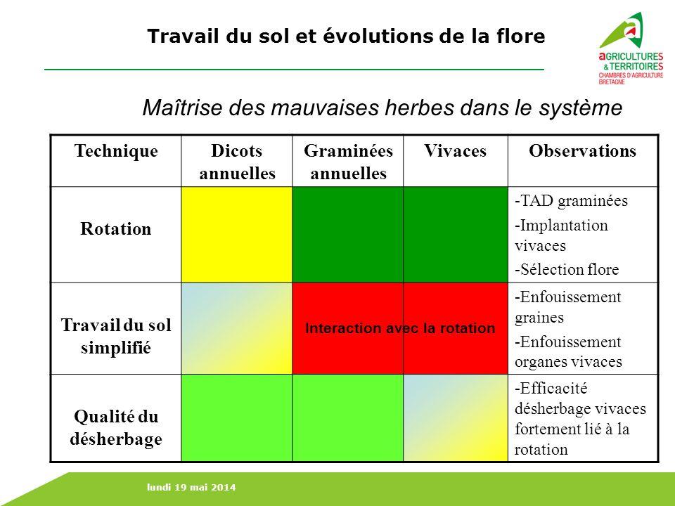 lundi 19 mai 2014 Travail du sol et évolutions de la flore Maîtrise des mauvaises herbes dans le système TechniqueDicots annuelles Graminées annuelles