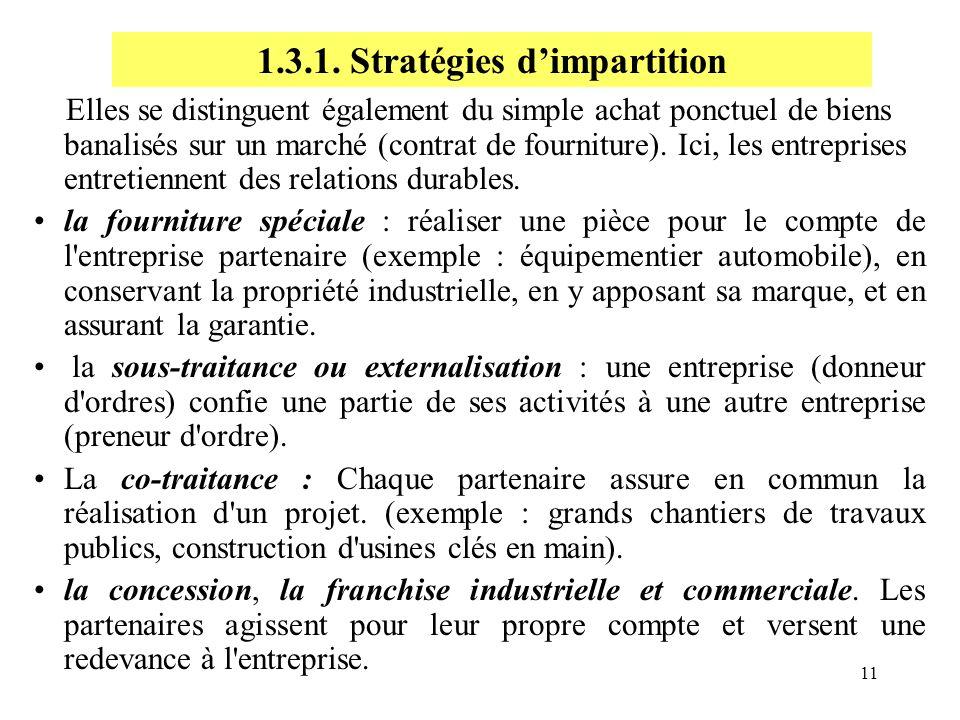 11 Elles se distinguent également du simple achat ponctuel de biens banalisés sur un marché (contrat de fourniture). Ici, les entreprises entretiennen