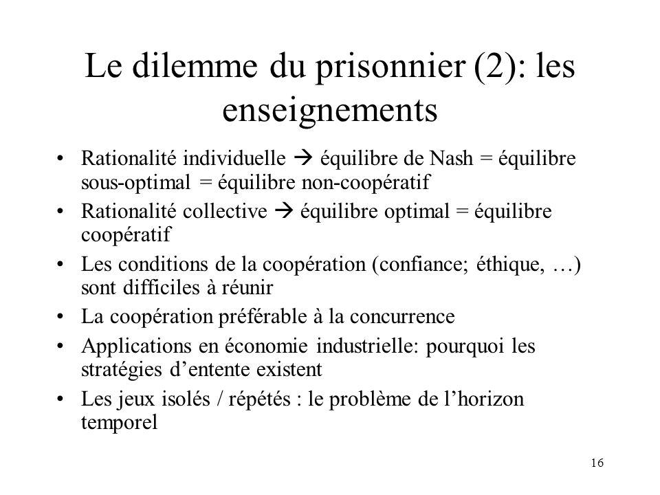 16 Le dilemme du prisonnier (2): les enseignements Rationalité individuelle équilibre de Nash = équilibre sous-optimal = équilibre non-coopératif Rati