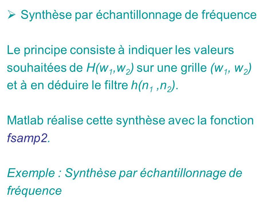 Synthèse par échantillonnage de fréquence Le principe consiste à indiquer les valeurs souhaitées de H(w 1,w 2 ) sur une grille (w 1, w 2 ) et à en déduire le filtre h(n 1,n 2 ).