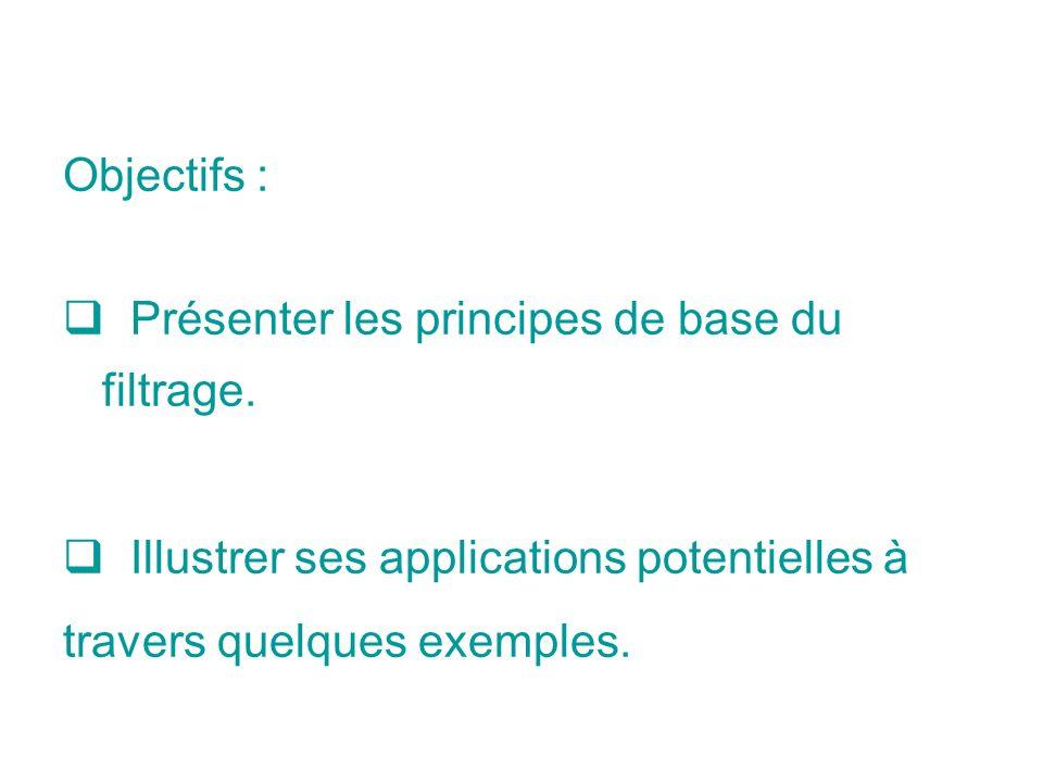 Objectifs : Présenter les principes de base du filtrage.