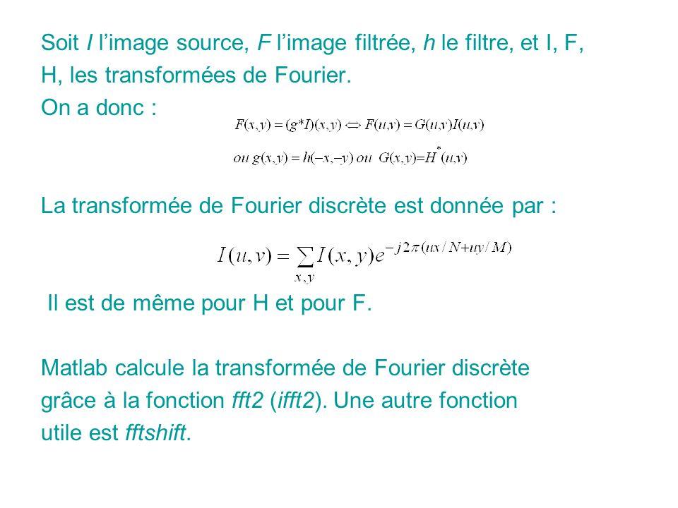 Soit I limage source, F limage filtrée, h le filtre, et I, F, H, les transformées de Fourier.