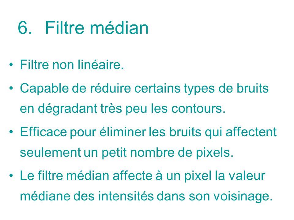 6.Filtre médian Filtre non linéaire.