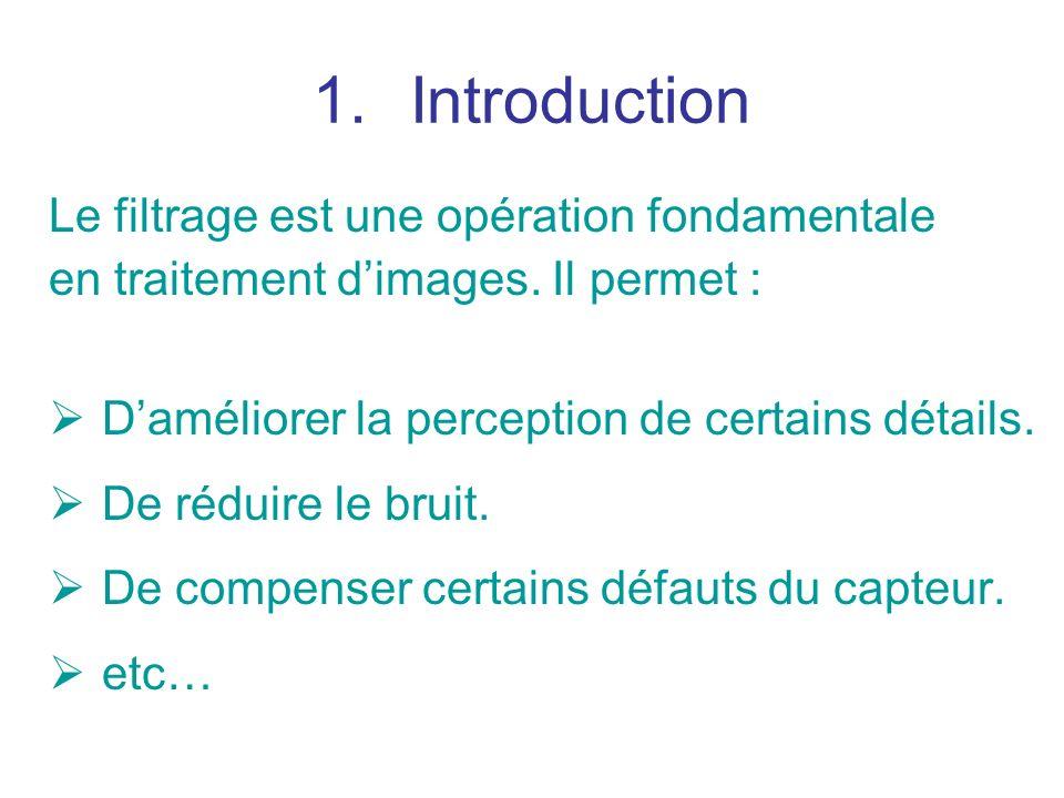 La moyenne de limage filtrée F est donnée par : On en déduit une condition sur les coefficients du filtre :