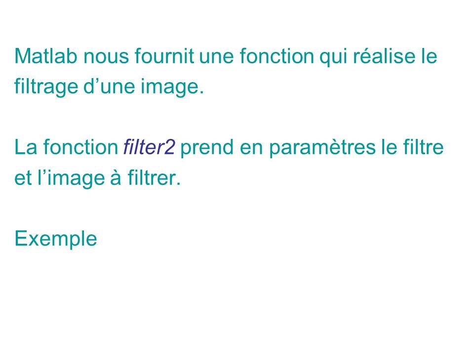 Matlab nous fournit une fonction qui réalise le filtrage dune image.