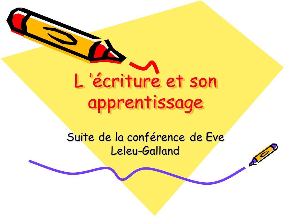 L écriture et son apprentissage Suite de la conférence de Eve Leleu-Galland