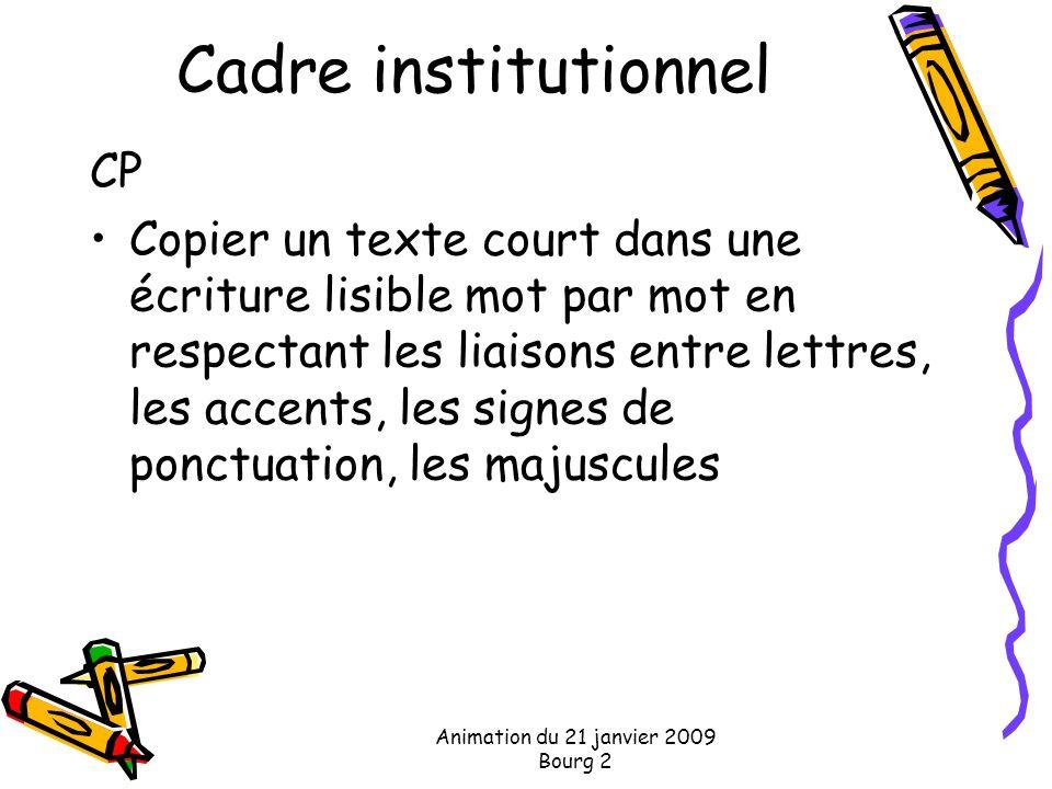 Animation du 21 janvier 2009 Bourg 2 Cadre institutionnel CP Copier un texte court dans une écriture lisible mot par mot en respectant les liaisons en