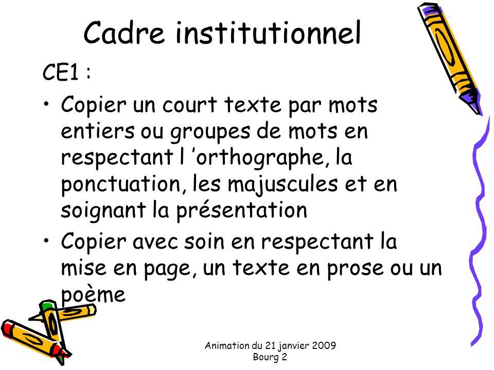 Animation du 21 janvier 2009 Bourg 2 Cadre institutionnel CE1 : Copier un court texte par mots entiers ou groupes de mots en respectant l orthographe,