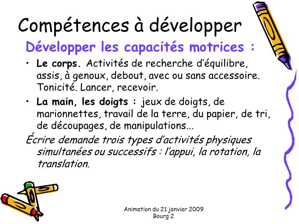 Animation du 21 janvier 2009 Bourg 2 Compétences à développer Développer les capacités motrices : Le corps. Activités de recherche déquilibre, assis,