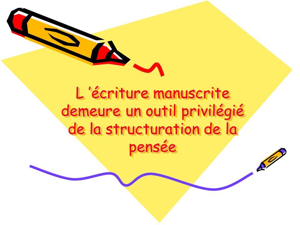 L écriture manuscrite demeure un outil privilégié de la structuration de la pensée
