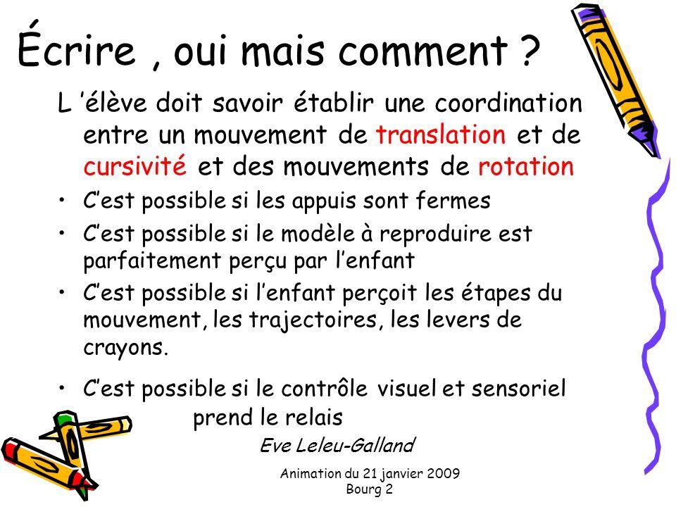 Animation du 21 janvier 2009 Bourg 2 Écrire, oui mais comment ? L élève doit savoir établir une coordination entre un mouvement de translation et de c
