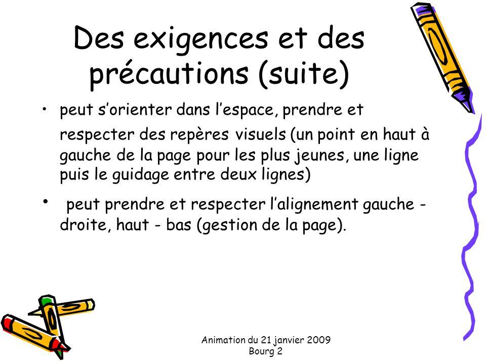 Animation du 21 janvier 2009 Bourg 2 Des exigences et des précautions (suite) peut sorienter dans lespace, prendre et respecter des repères visuels (u