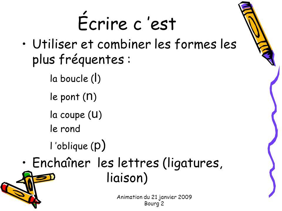 Écrire c est Utiliser et combiner les formes les plus fréquentes : la boucle ( l ) le pont ( n ) la coupe ( u ) le rond l oblique ( p ) Enchaîner les