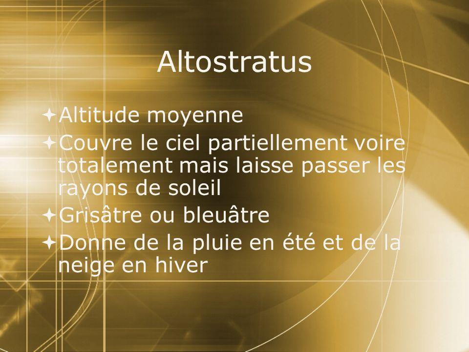 Altostratus Altitude moyenne Couvre le ciel partiellement voire totalement mais laisse passer les rayons de soleil Grisâtre ou bleuâtre Donne de la pl