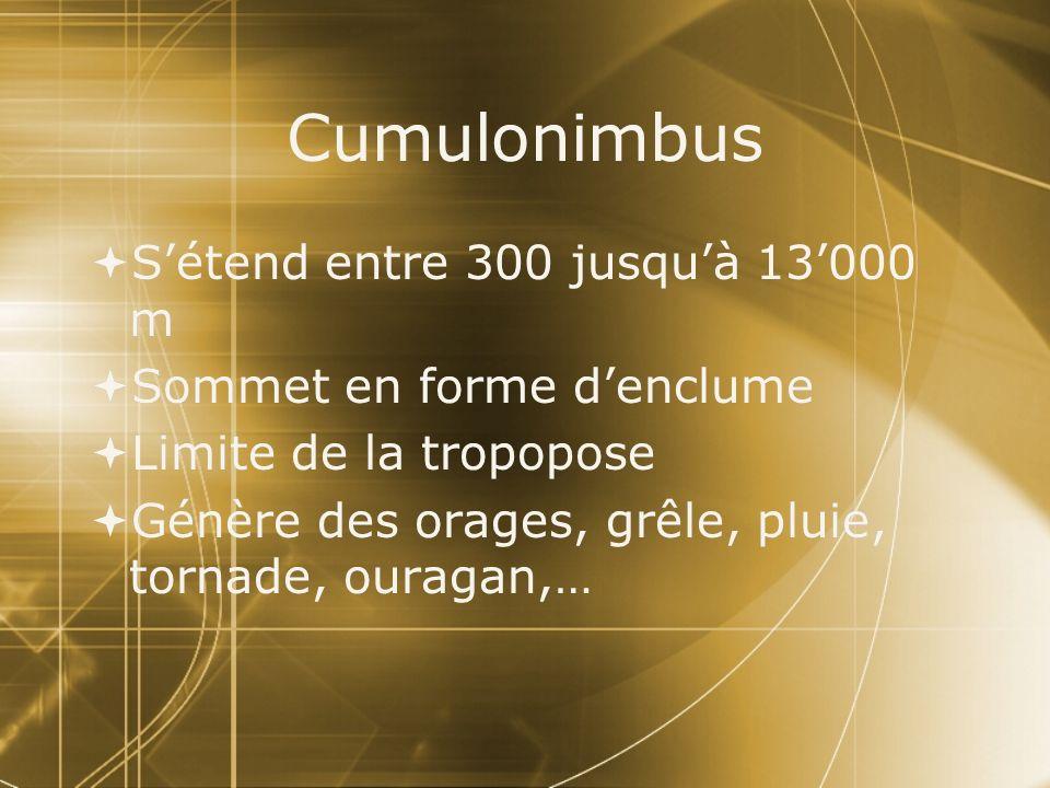 Cumulonimbus Sétend entre 300 jusquà 13000 m Sommet en forme denclume Limite de la tropopose Génère des orages, grêle, pluie, tornade, ouragan,… Séten