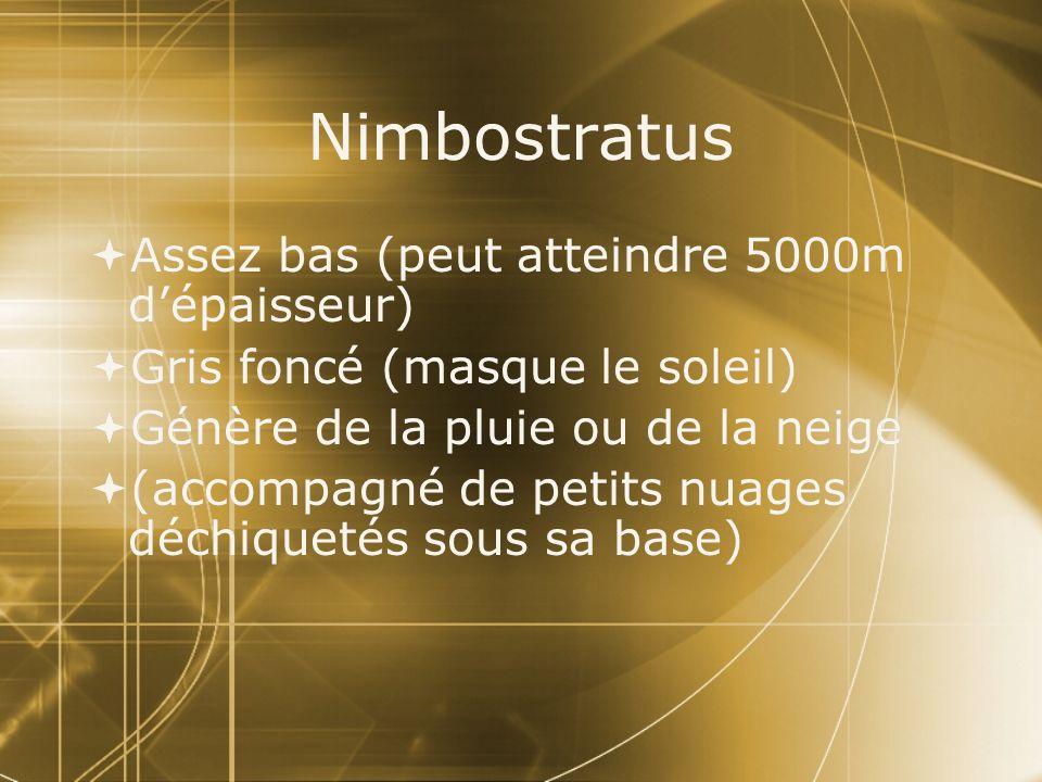 Nimbostratus Assez bas (peut atteindre 5000m dépaisseur) Gris foncé (masque le soleil) Génère de la pluie ou de la neige (accompagné de petits nuages